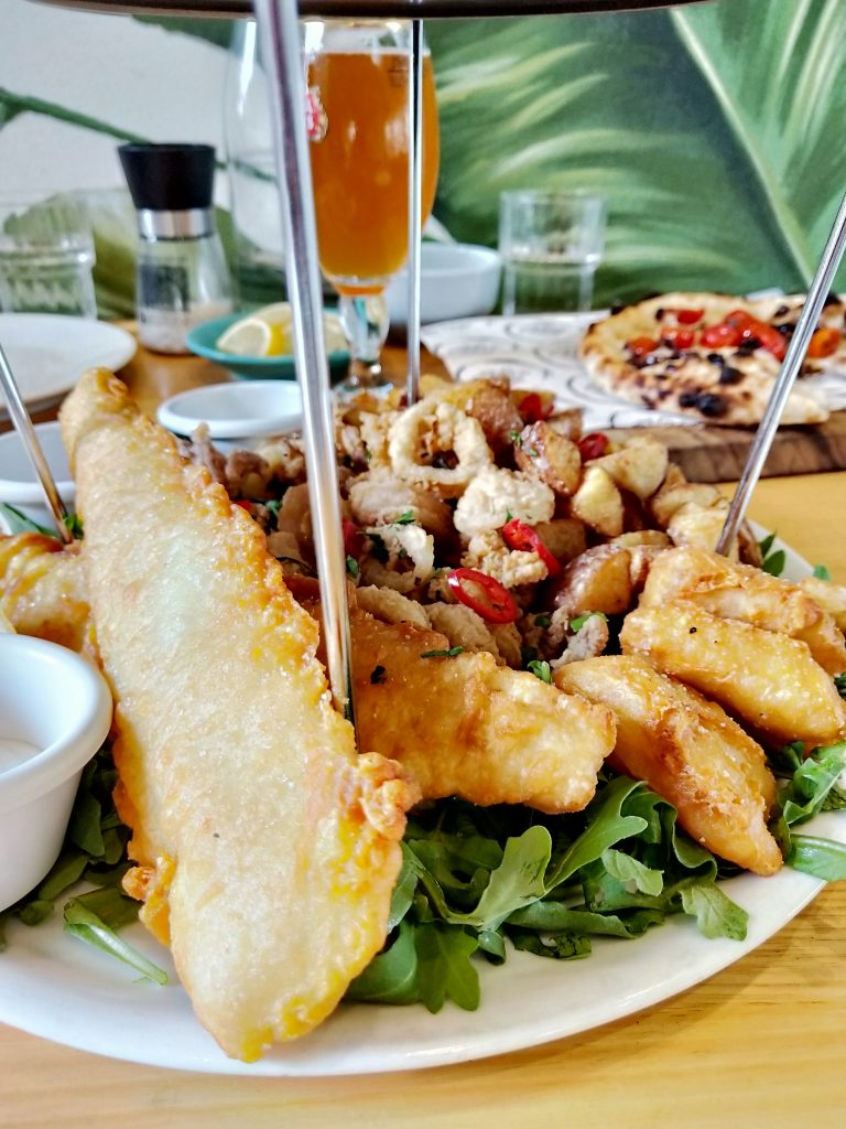 Delicious seafood platter, including beautiful barramundi